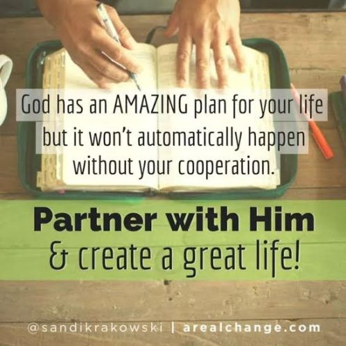 """God has an amazing plan for your life but it won't automatically happen without your cooperation.  Partner with Him and create a great life!"""
